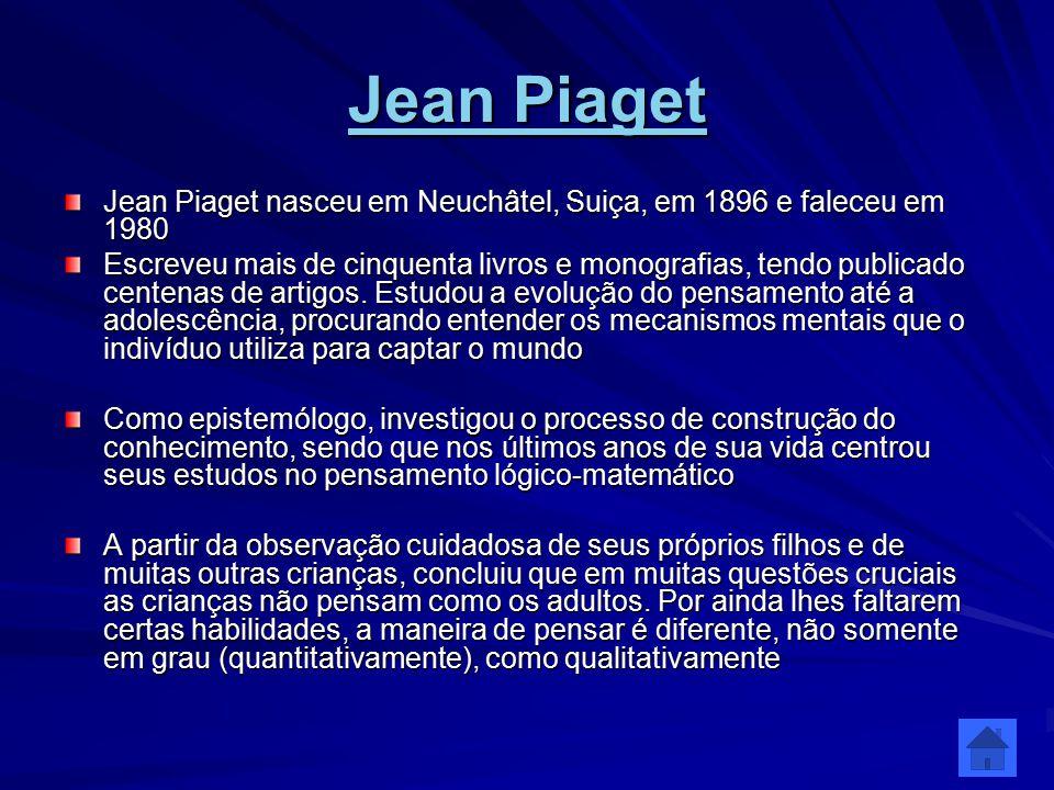 Jean Piaget Jean Piaget Jean Piaget nasceu em Neuchâtel, Suiça, em 1896 e faleceu em 1980 Escreveu mais de cinquenta livros e monografias, tendo publi