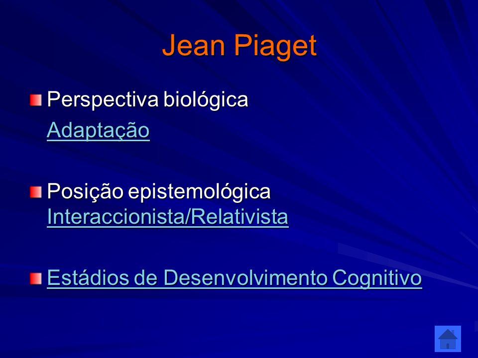 Jean Piaget Perspectiva biológica Adaptação Posição epistemológica Interaccionista/Relativista Interaccionista/Relativista Estádios de Desenvolvimento