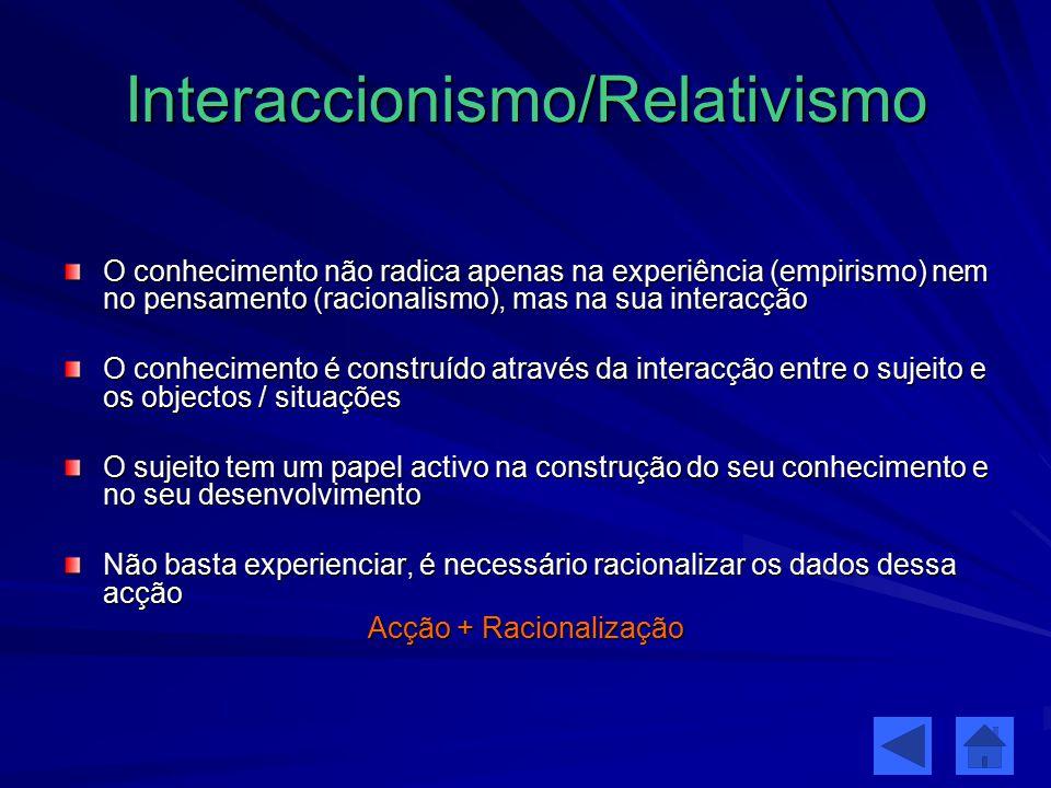 Interaccionismo/Relativismo O conhecimento não radica apenas na experiência (empirismo) nem no pensamento (racionalismo), mas na sua interacção O conh