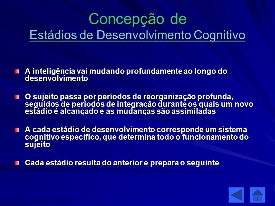 Estádios 3 Estruturas / correspondendo aos 3 estádios Inteligência sensório-motora (0-2A) conhecimento prático dos objectos (situações) resolução de problemas de acção exº: manipulação de objectos Inteligência operatória concreta (2-11/12A) representação mental das acções pensamento concreto operações sobre objectos exº: relação entre objectos Inteligência operatória formal (11/12-14/15A) reflexão, abstracção pensamento formal operações sobre (os resultados das) operações exº proporção: relação entre relações