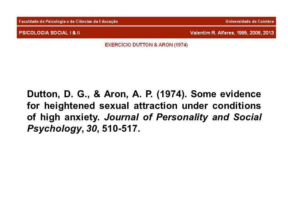 Dutton, D. G., & Aron, A. P. (1974). Some evidence for heightened sexual attraction under conditions of high anxiety. Journal of Personality and Socia