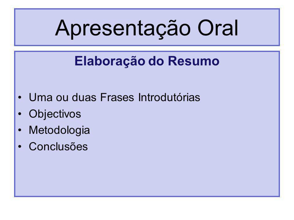 Apresentação Oral Elaboração do Resumo Uma ou duas Frases Introdutórias Objectivos Metodologia Conclusões