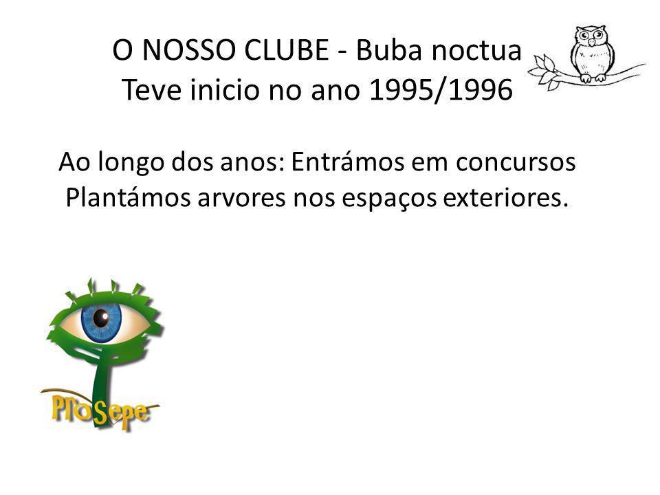 O NOSSO CLUBE - Buba noctua Teve inicio no ano 1995/1996 Ao longo dos anos: Entrámos em concursos Plantámos arvores nos espaços exteriores.