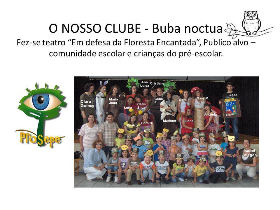 O NOSSO CLUBE - Buba noctua Fez-se teatro Em defesa da Floresta Encantada, Publico alvo – comunidade escolar e crianças do pré-escolar.
