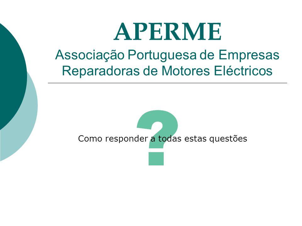 APERME Associação Portuguesa de Empresas Reparadoras de Motores Eléctricos Como responder a todas estas questões