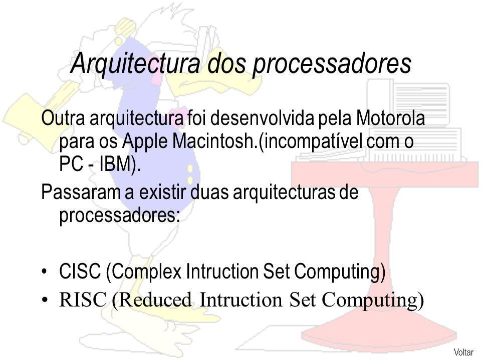 Arquitectura dos processadores Outra arquitectura foi desenvolvida pela Motorola para os Apple Macintosh.(incompatível com o PC - IBM).