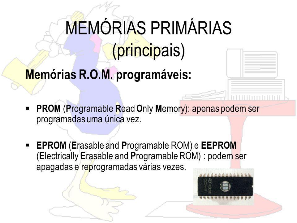 MEMÓRIAS PRIMÁRIAS (principais) Memórias R.O.M.