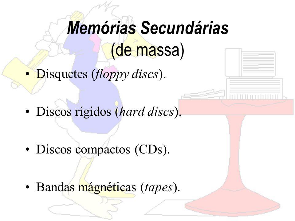 Memórias Secundárias (de massa) Disquetes (floppy discs).
