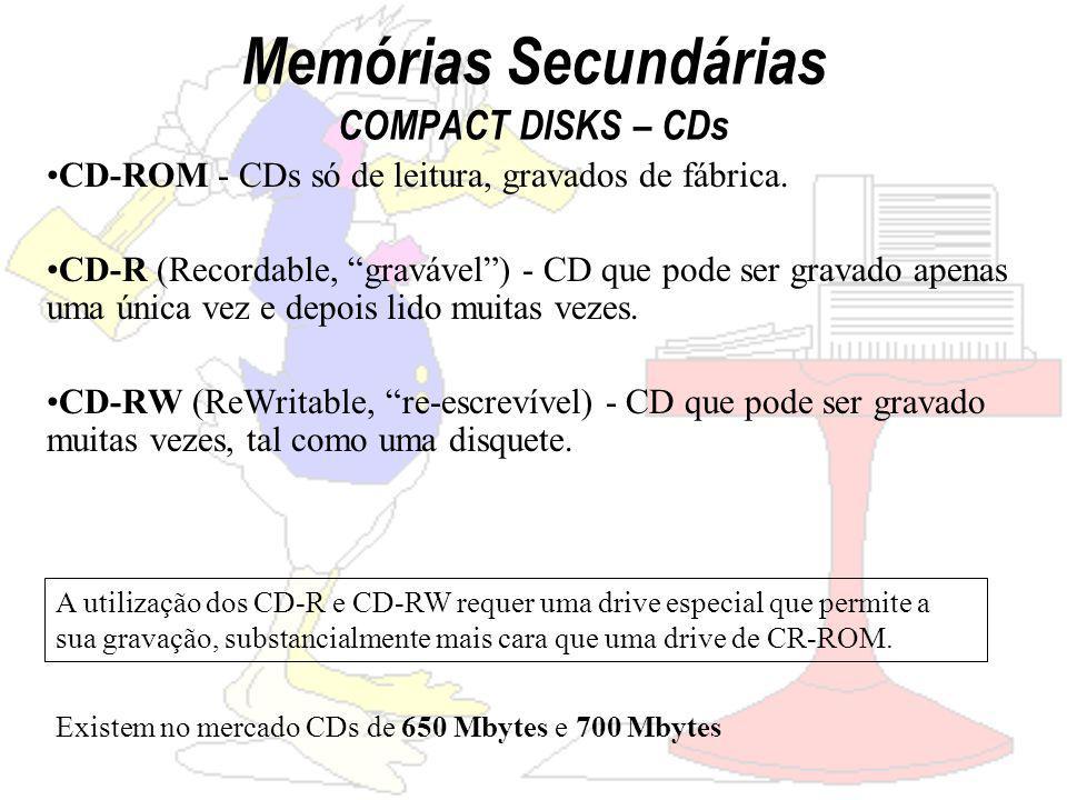 Memórias Secundárias COMPACT DISKS – CDs CD-ROM - CDs só de leitura, gravados de fábrica.