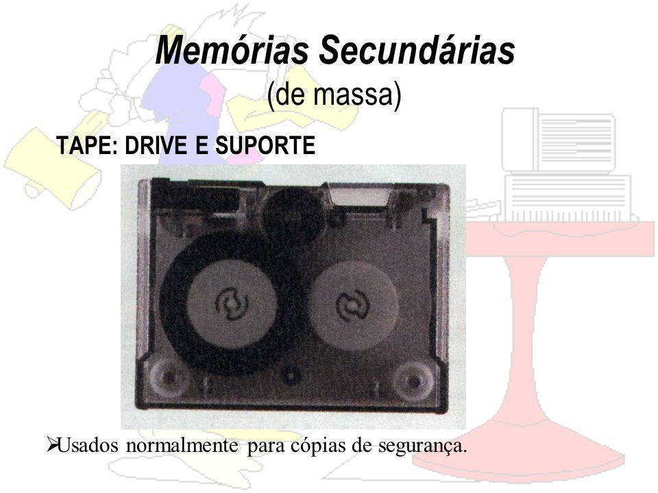 Memórias Secundárias (de massa) TAPE: DRIVE E SUPORTE Usados normalmente para cópias de segurança.