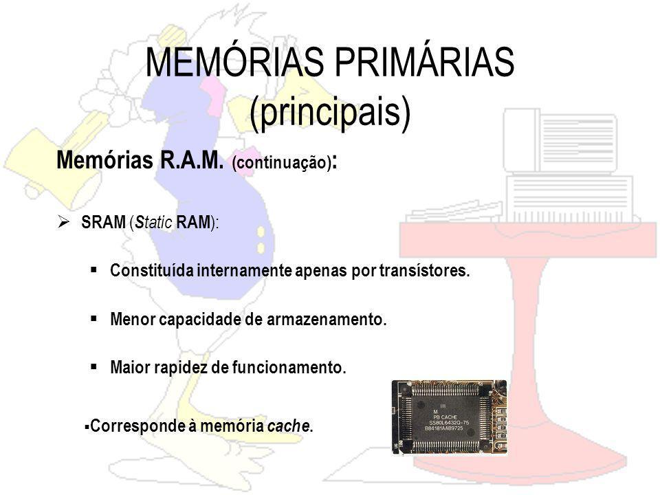 MEMÓRIAS PRIMÁRIAS (principais) R.O.M.(Read Only Memory) Memória apenas de Leitura.