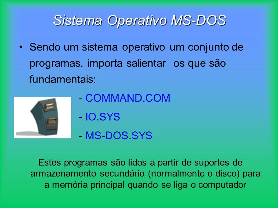 Sistema Operativo MS-DOS Sendo um sistema operativo um conjunto de programas, importa salientar os que são fundamentais: - COMMAND.COM - IO.SYS - MS-D