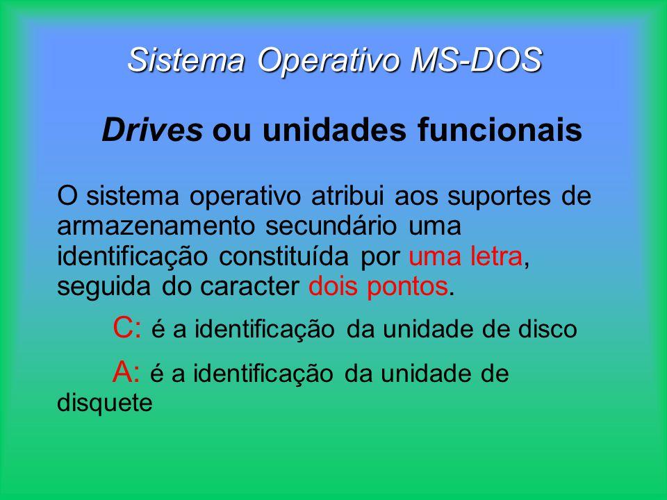 O sistema operativo atribui aos suportes de armazenamento secundário uma identificação constituída por uma letra, seguida do caracter dois pontos. C: