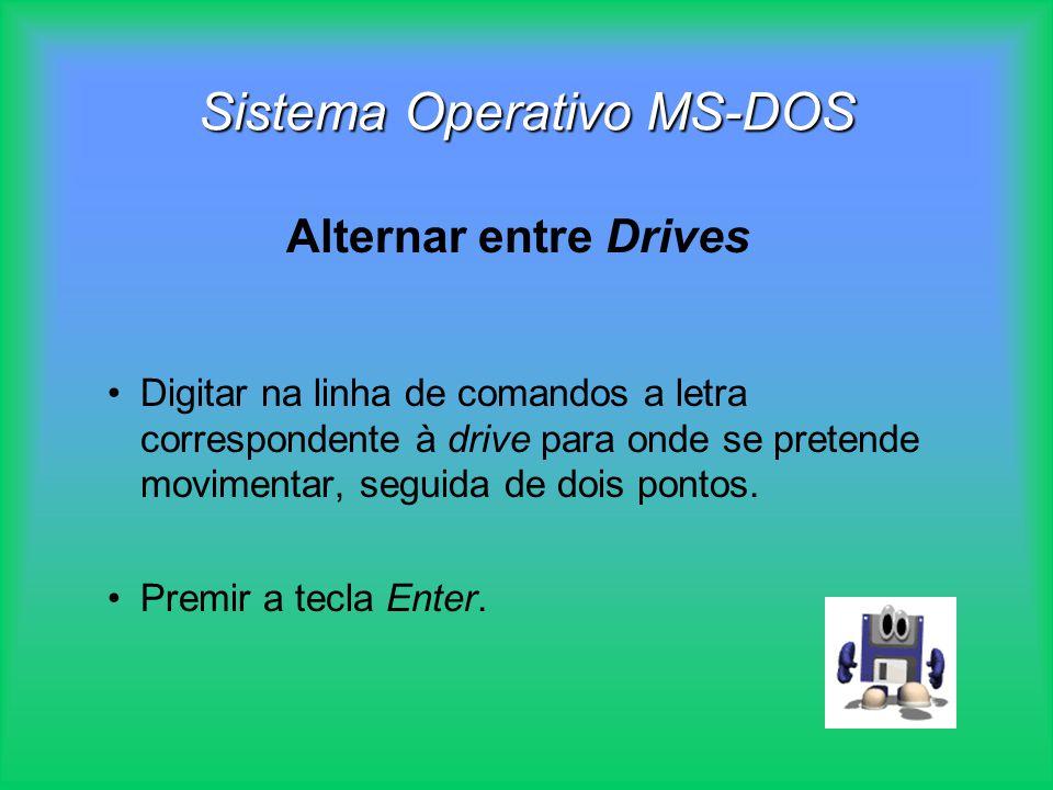 Sistema Operativo MS-DOS Digitar na linha de comandos a letra correspondente à drive para onde se pretende movimentar, seguida de dois pontos. Premir