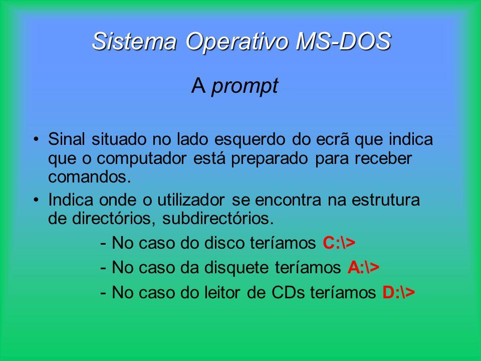 Sistema Operativo MS-DOS A prompt Sinal situado no lado esquerdo do ecrã que indica que o computador está preparado para receber comandos. Indica onde