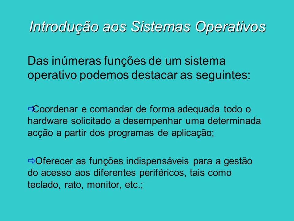 Introdução aos Sistemas Operativos Das inúmeras funções de um sistema operativo podemos destacar as seguintes: Coordenar e comandar de forma adequada