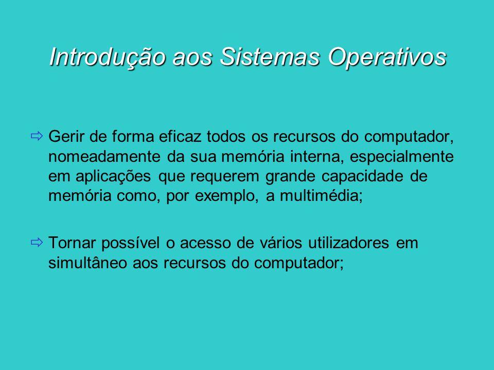 Introdução aos Sistemas Operativos Gerir de forma eficaz todos os recursos do computador, nomeadamente da sua memória interna, especialmente em aplica