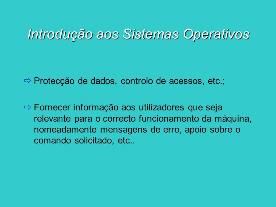 Introdução aos Sistemas Operativos Diferentes tipos de sistemas operativos: MS-DOS (Microsoft - Disk Operating System) Windows 98 Windows Millenium Windows NT Windows XP Unix Linux