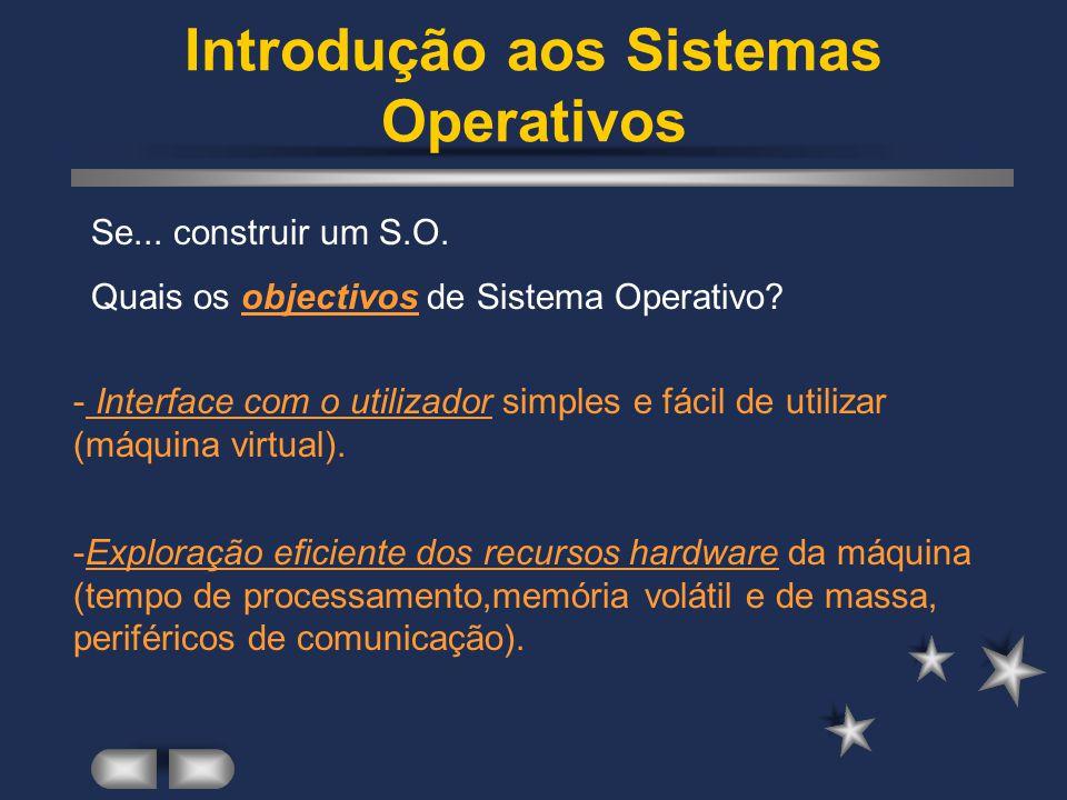Introdução aos Sistemas Operativos E...construir um S.O.