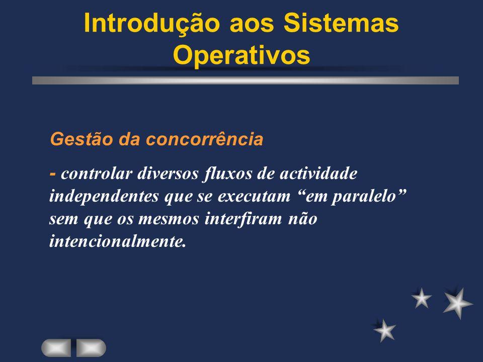Introdução aos Sistemas Operativos Partilha de recursos com protecção: - físicos: processador, memória, discos, periféricos diversos.