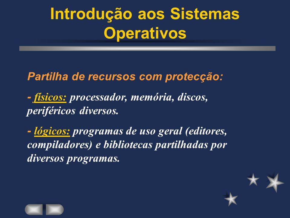 Introdução aos Sistemas Operativos Gestão de informação persistente - armazenamento fiável e seguro da informação não volátil em suportes magnéticos, ópticos, etc.
