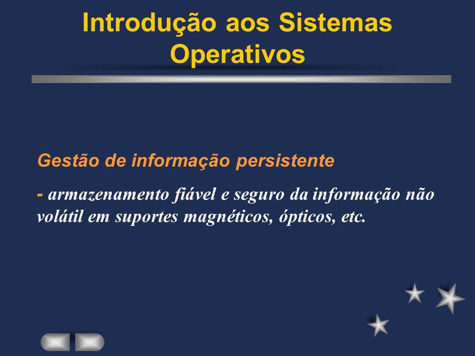 Introdução aos Sistemas Operativos Controlo dos gastos - contabilização e limitação da utilização dos recursos físicos.