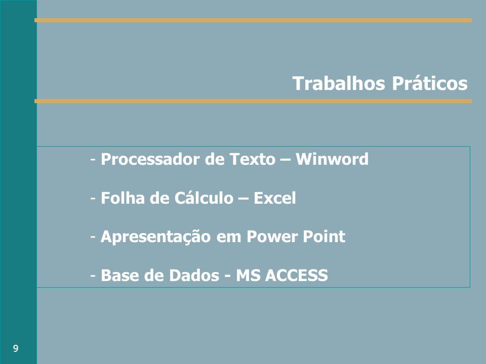 Trabalhos Práticos - Processador de Texto – Winword - Folha de Cálculo – Excel - Apresentação em Power Point - Base de Dados - MS ACCESS 9