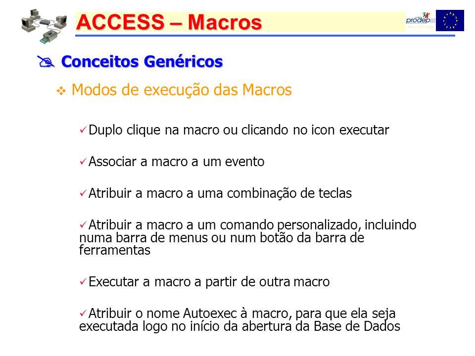 ACCESS – Macros Conceitos Genéricos Conceitos Genéricos Modos de execução das Macros Duplo clique na macro ou clicando no icon executar Associar a macro a um evento Atribuir a macro a uma combinação de teclas Atribuir a macro a um comando personalizado, incluindo numa barra de menus ou num botão da barra de ferramentas Executar a macro a partir de outra macro Atribuir o nome Autoexec à macro, para que ela seja executada logo no início da abertura da Base de Dados