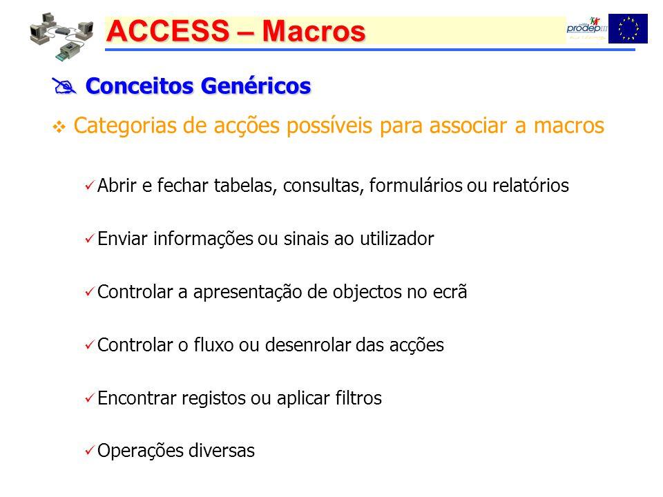 ACCESS – Macros Conceitos Genéricos Conceitos Genéricos Categorias de acções possíveis para associar a macros Abrir e fechar tabelas, consultas, formu