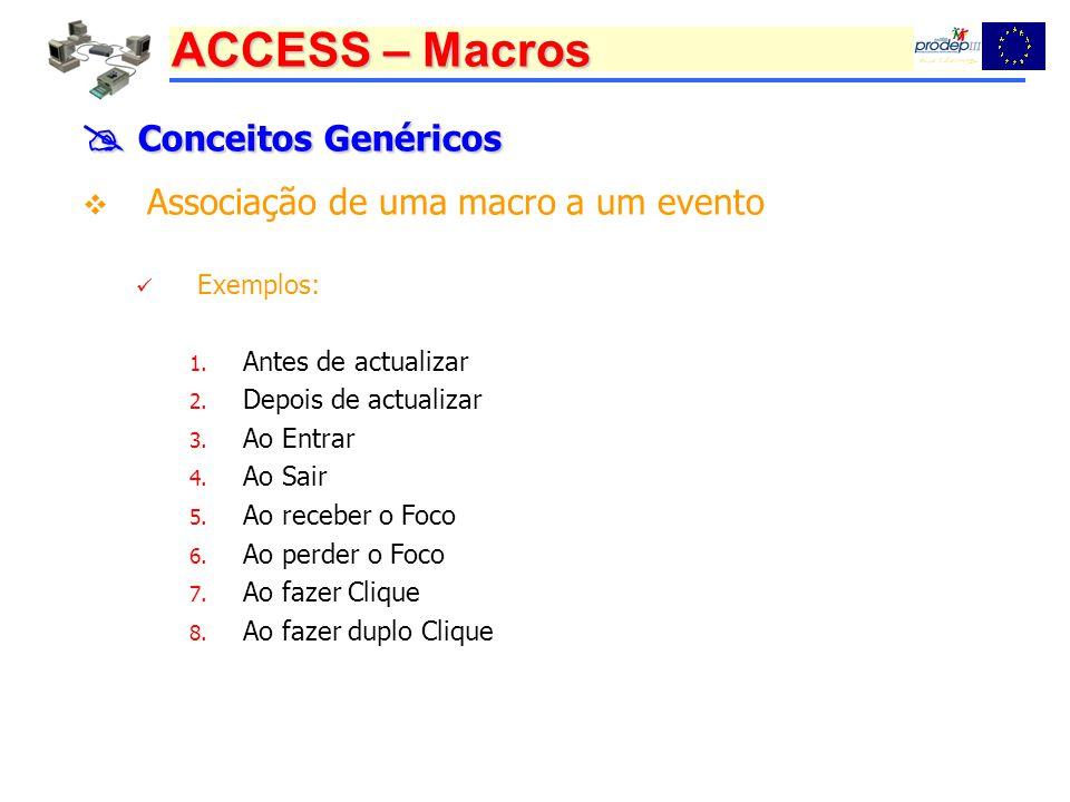 ACCESS – Macros Conceitos Genéricos Conceitos Genéricos Associação de uma macro a um evento Exemplos: 1. Antes de actualizar 2. Depois de actualizar 3