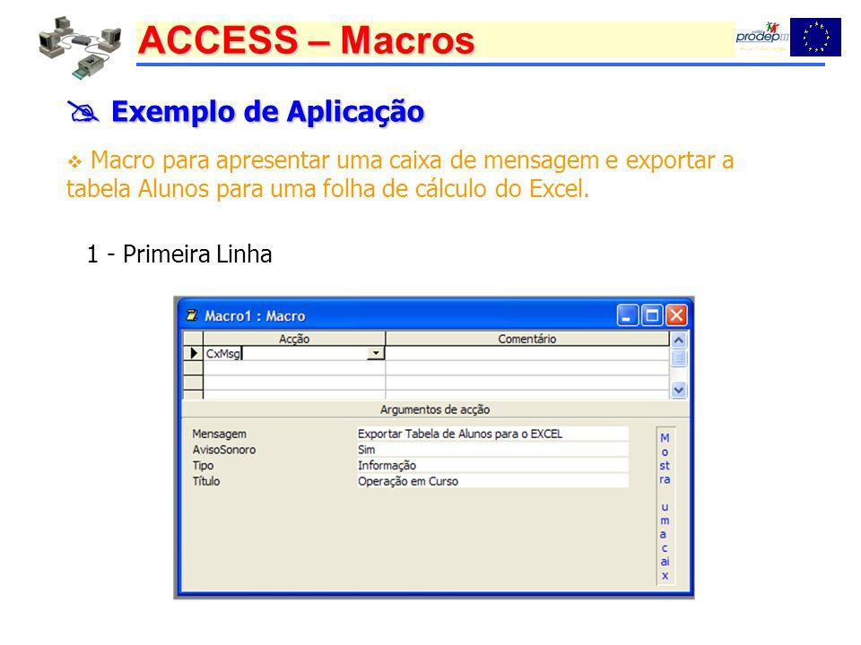 ACCESS – Macros Exemplo de Aplicação Exemplo de Aplicação Macro para apresentar uma caixa de mensagem e exportar a tabela Alunos para uma folha de cálculo do Excel.