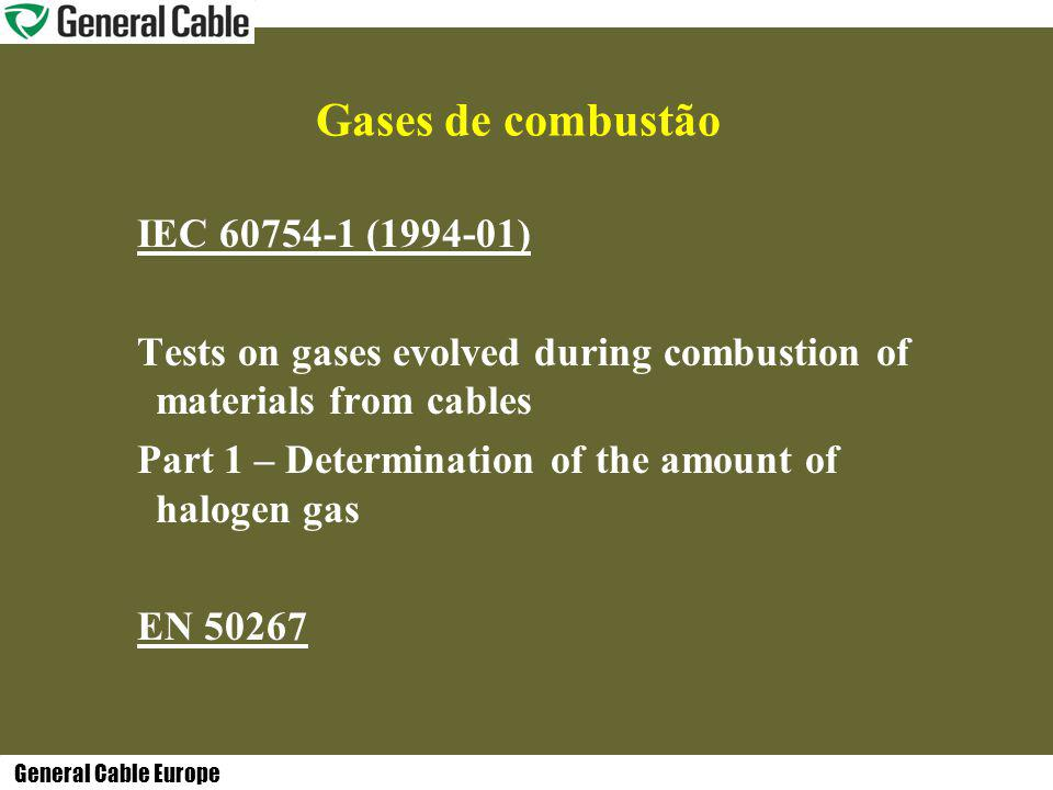General Cable Europe Gases de combustão IEC 60754-1 (1994-01) Tests on gases evolved during combustion of materials from cables Part 1 – Determination