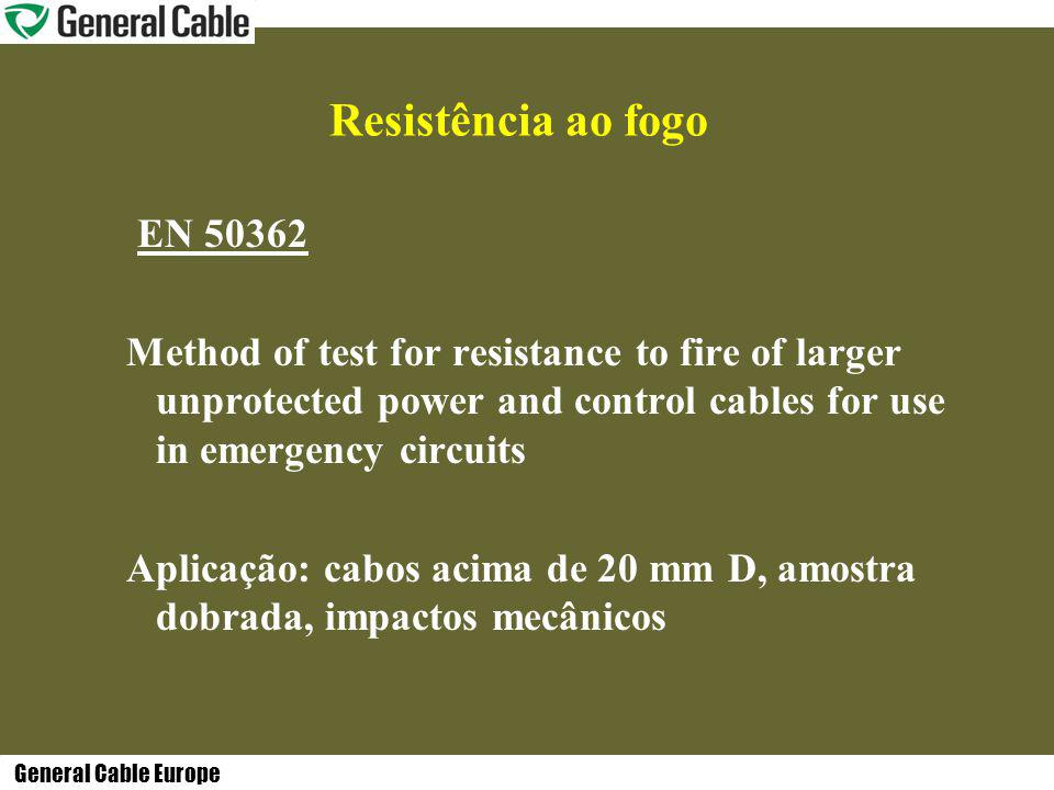 General Cable Europe Resistência ao fogo EN 50362 Method of test for resistance to fire of larger unprotected power and control cables for use in emer
