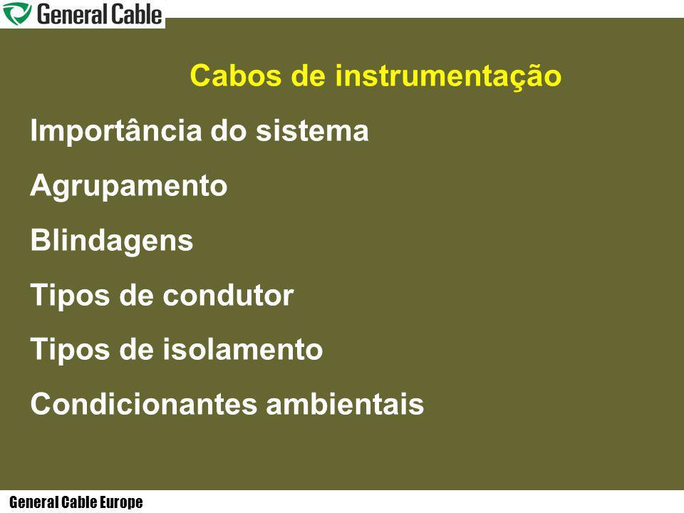 General Cable Europe Cabos de instrumentação Importância do sistema Agrupamento Blindagens Tipos de condutor Tipos de isolamento Condicionantes ambientais