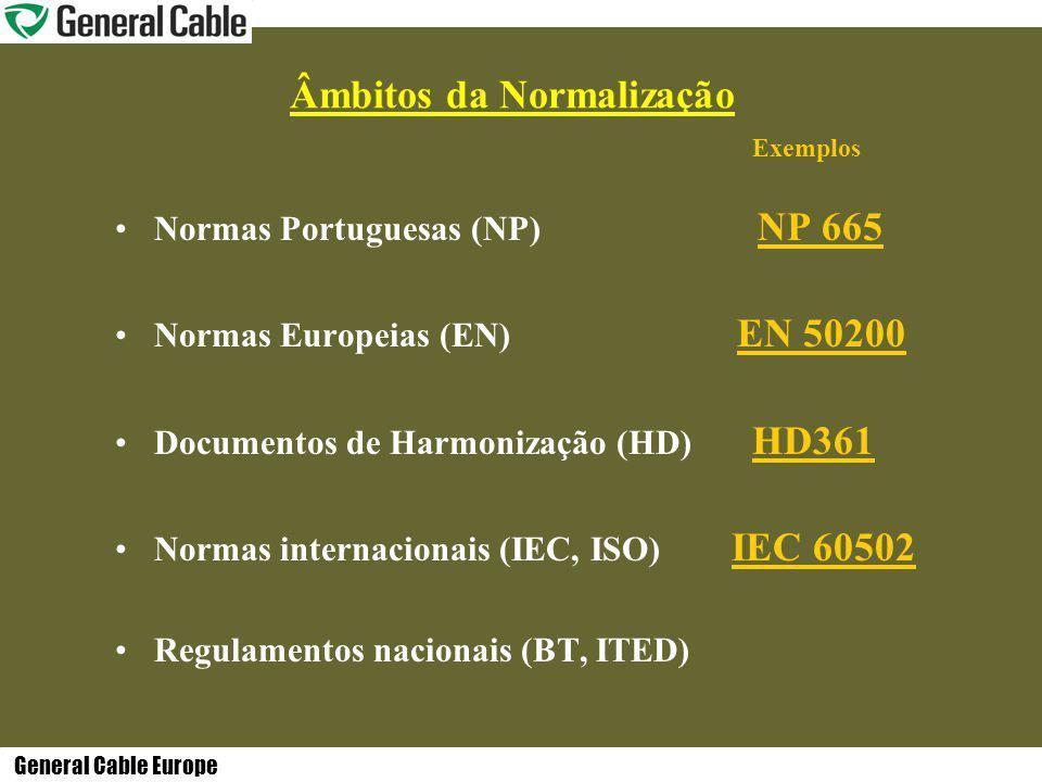 General Cable Europe Âmbitos da Normalização Exemplos Normas Portuguesas (NP) NP 665 Normas Europeias (EN) EN 50200 Documentos de Harmonização (HD) HD361 Normas internacionais (IEC, ISO) IEC 60502 Regulamentos nacionais (BT, ITED)