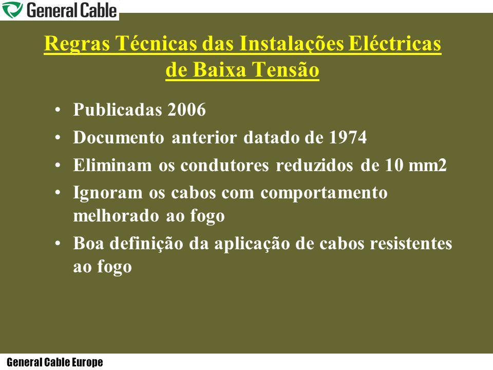 General Cable Europe Regras Técnicas das Instalações Eléctricas de Baixa Tensão Publicadas 2006 Documento anterior datado de 1974 Eliminam os condutores reduzidos de 10 mm2 Ignoram os cabos com comportamento melhorado ao fogo Boa definição da aplicação de cabos resistentes ao fogo
