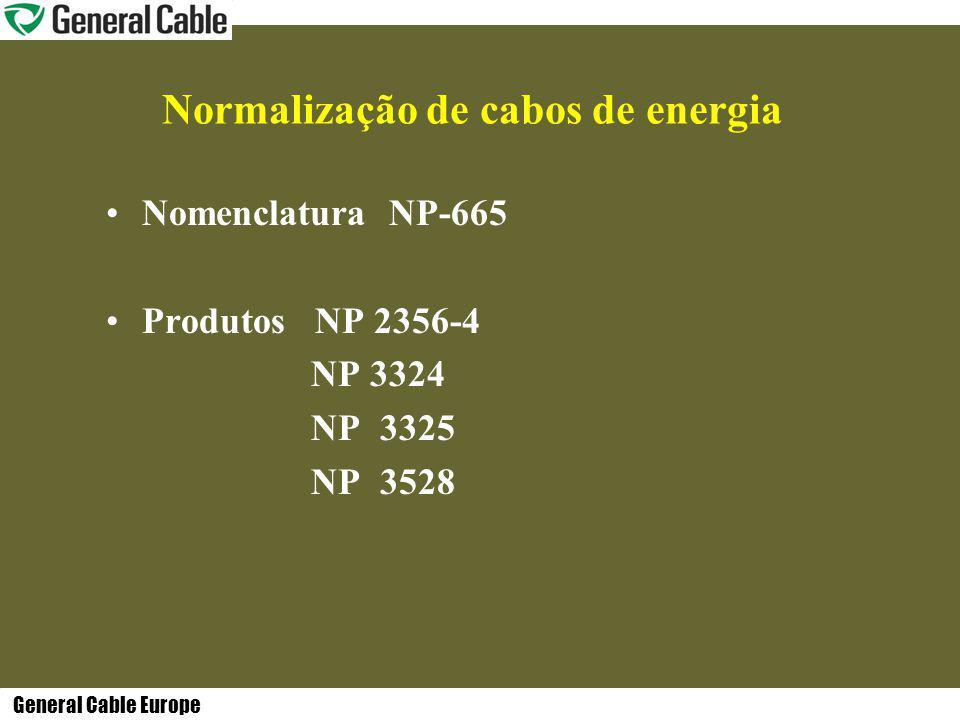 General Cable Europe Normalização de cabos de energia Nomenclatura NP-665 Produtos NP 2356-4 NP 3324 NP 3325 NP 3528
