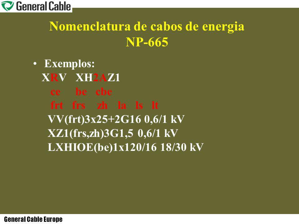 General Cable Europe Nomenclatura de cabos de energia NP-665 Exemplos: XRV XH2AZ1 ce be cbe frt frs zh la ls lt VV(frt)3x25+2G16 0,6/1 kV XZ1(frs,zh)3G1,5 0,6/1 kV LXHIOE(be)1x120/16 18/30 kV