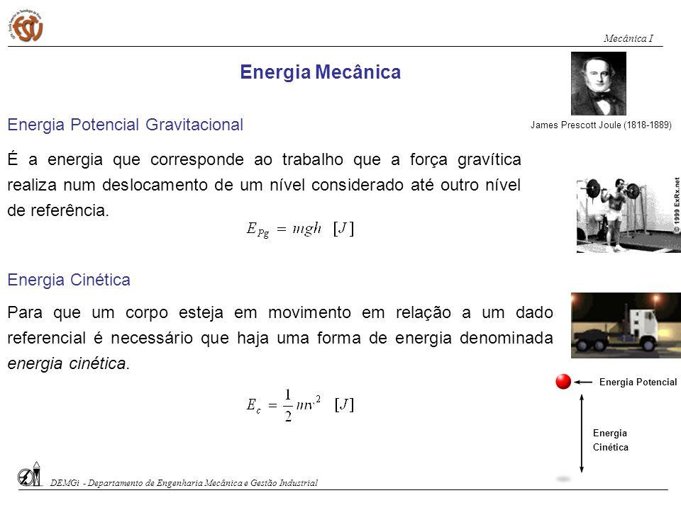 Energia Mecânica James Prescott Joule (1818-1889) Energia Cinética Para que um corpo esteja em movimento em relação a um dado referencial é necessário
