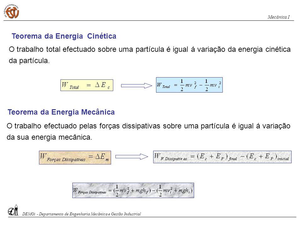 Teorema da Energia Cinética O trabalho total efectuado sobre uma partícula é igual á variação da energia cinética da partícula. Teorema da Energia Mec