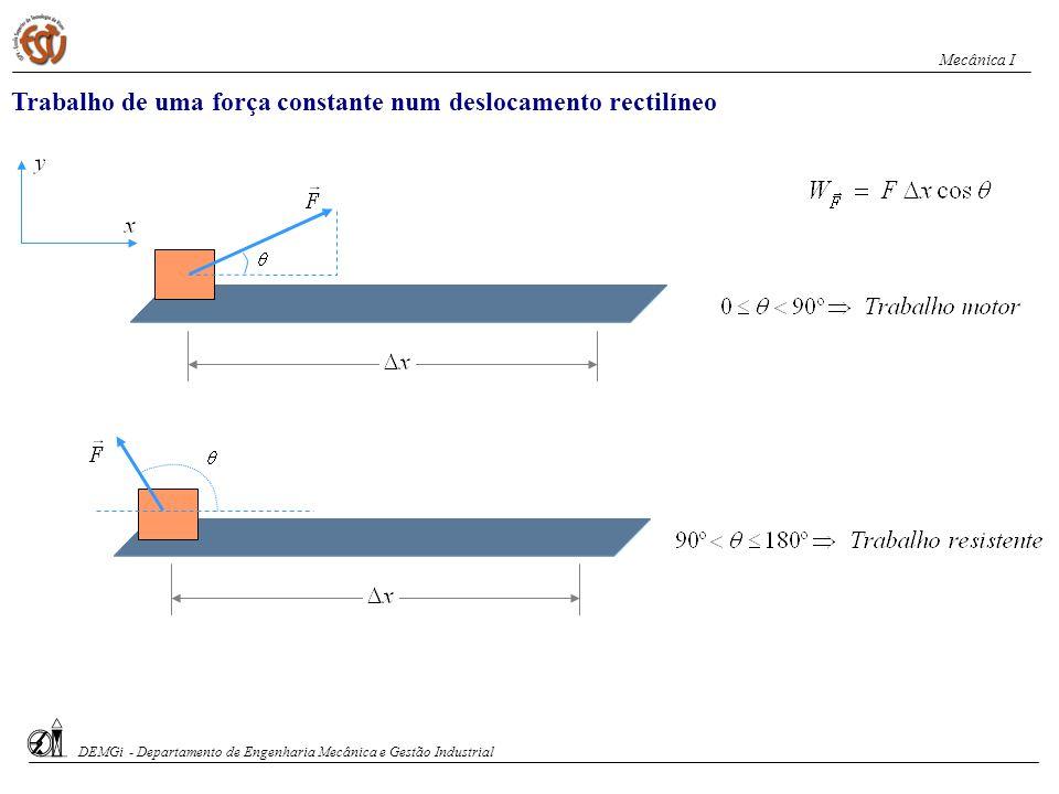 Teorema da Energia Cinética O trabalho total efectuado sobre uma partícula é igual á variação da energia cinética da partícula.