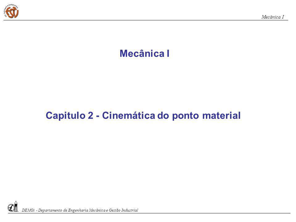 Movimento uniforme s = s o + v.t s = posição em um instante qualquer (m, km) s o = posição inicial (m, km) v = velocidade (m/s, km/h) t = tempo (s, h) No movimento uniforme a velocidade é constante em qualquer instante DEMGi - Departamento de Engenharia Mecânica e Gestão Industrial Mecânica I