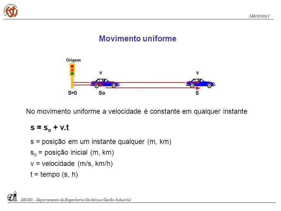 Exercício 1: a) Trace o diagrama horário da posição da moto b) Identifique o movimento da moto c) Obtenha a equação horária s-t d) A velocidade da moto e a posição da moto ao fim de 8 s DEMGi - Departamento de Engenharia Mecânica e Gestão Industrial Mecânica I