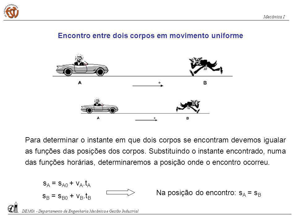 Movimento uniforme Dois corpos deslocam-se sobre a mesma trajectória, obedecendo às funções horárias: s A = 5+ 2.t e s B = 65 - 8.t Determine o instante e a posição do encontro.