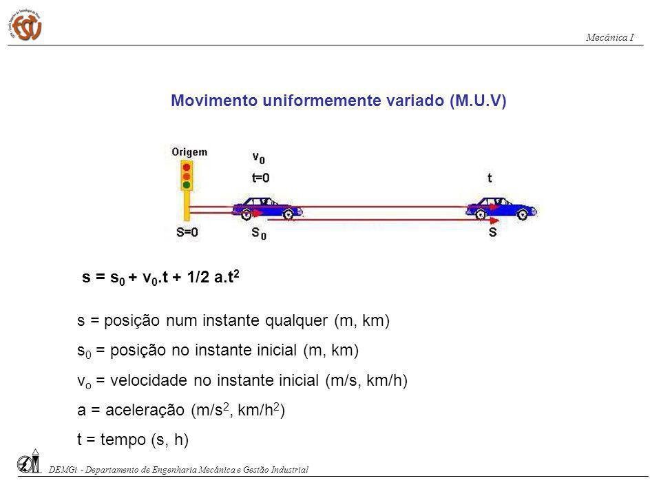 Movimento uniformemente variado (M.U.V) Posição em função do tempo: s = s 0 + v 0.t + 1/2 a.t 2 Velocidade em função do tempo: v = v 0 + a.t DEMGi - Departamento de Engenharia Mecânica e Gestão Industrial Mecânica I