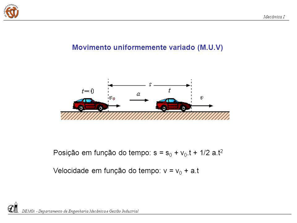 No movimento uniforme: o declive da recta inclinada do gráfico s x t indica o valor da velocidade escalar constante do corpo.