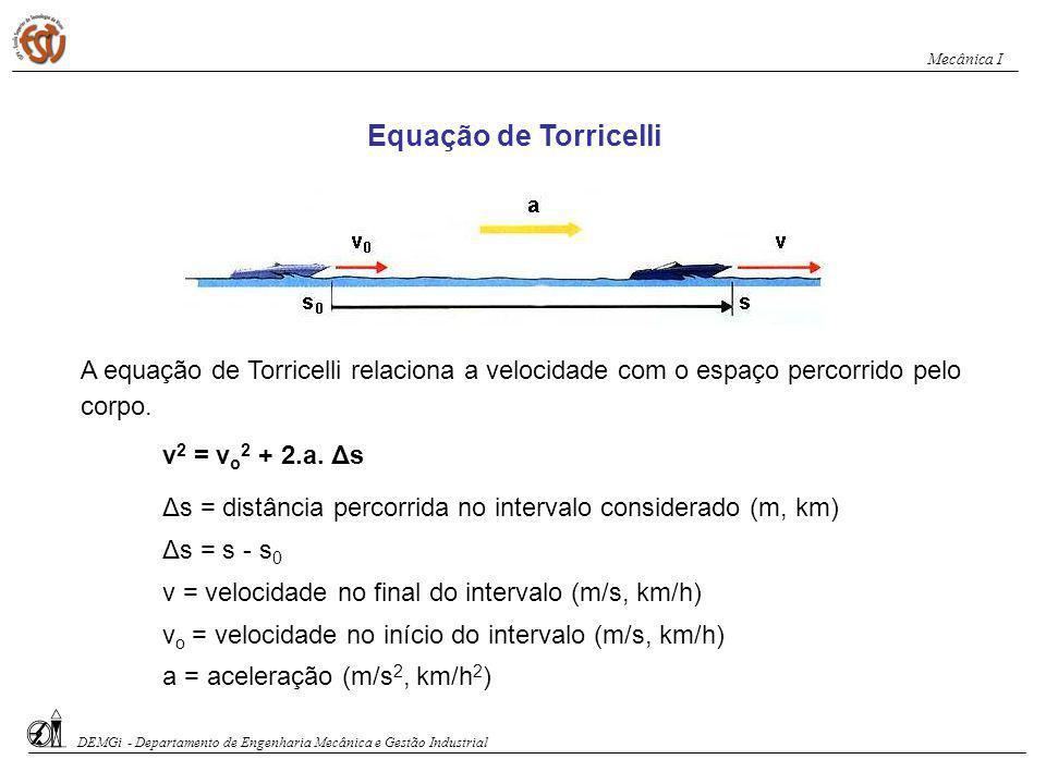 Exemplo de Aplicação da Equação de Torricelli Exercício 3: Um carro de corrida tem velocidade de 28 m/s.