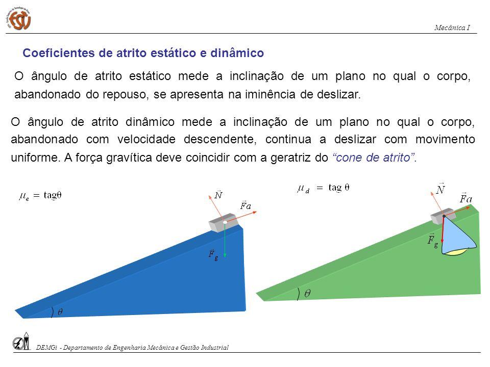 g F g F A intensidade da força de atrito estático é proporcional à intensidade da reacção normal de apoio: A intensidade da força de atrito dinâmico (