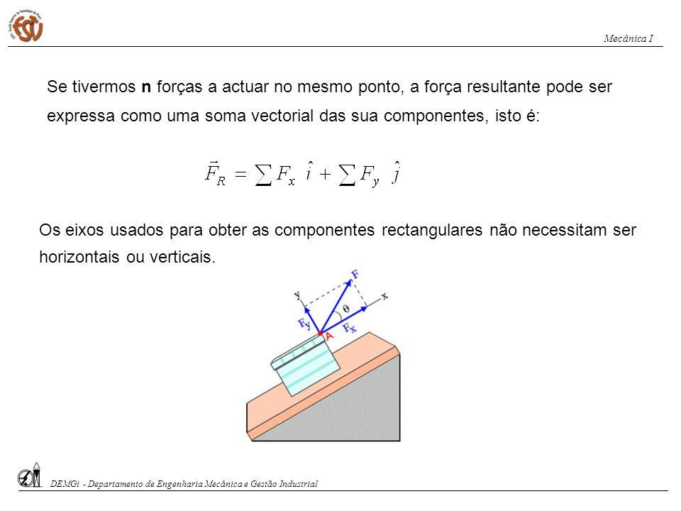 Decomposição de vectores força = Vector força = Ângulo entre e o eixo x x y x y DEMGi - Departamento de Engenharia Mecânica e Gestão Industrial Mecâni