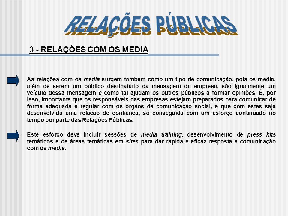 As relações com os media surgem também como um tipo de comunicação, pois os media, além de serem um público destinatário da mensagem da empresa, são i